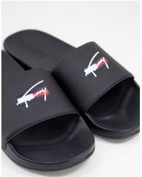 Tommy Hilfiger Черные Шлепанцы С Логотипом -черный Цвет
