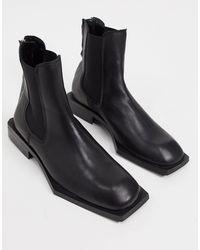ASOS Chelsea Boots Van Zwart Leer Met Vierkante Zool