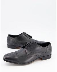 Schuh - Черные Кожаные Броги Rowen-черный Цвет - Lyst