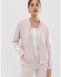 DKNY Sudadera con capucha y cremallera delantera con logo en rosa