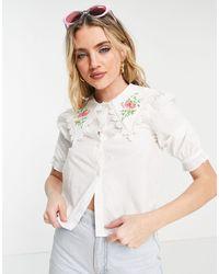 Monki Белая Блузка С Вышивкой На Воротнике Rosa-белый