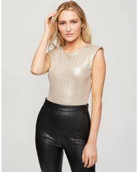 Miss Selfridge Shoulder Pad Bodysuit - Metallic