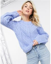 Object Hand Knitted Wool Cable Knit Jumper - Blue
