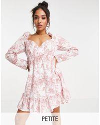 Missguided - Розовое Платье Мини С Оборкой По Краю И Запахом -розовый Цвет - Lyst