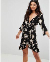 Club L - 3/4 Sleeve Detailed Wrap Black Floral Day Dress - Lyst