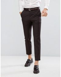 French Connection - Skinny Suit Trouser In Burgundy - Lyst