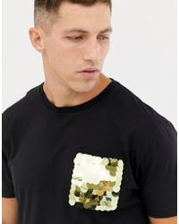 ASOS - Relaxed T-shirt With Sequin Pocket In Black - Lyst