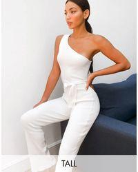 Missguided Tuta jumpsuit monospalla bianca con cintura - Bianco
