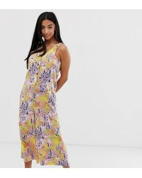 Noisy May Petite Abstract Print Wide Leg Jumpsuit - Multicolor