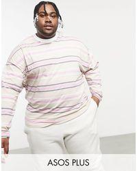 ASOS Plus - Maglietta oversize a maniche lunghe - Multicolore