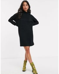 Noisy May Roll Neck Mini Knitted Sweater Dress - Black