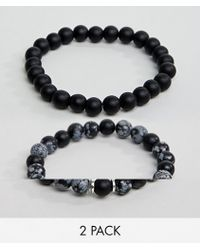 ASOS - Design Beaded Bracelet Pack In Black With Semi Precious Stones - Lyst
