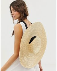 ASOS - Natural Straw Flat Boater - Lyst