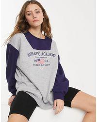 Daisy Street Sweat-shirt oversize color block d'ensemble à imprimé Athletic Academy - Gris