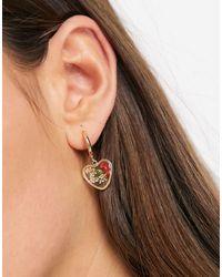 ASOS Créoles avec pendentifs cœurs à fleurs séchées - Métallisé