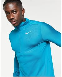 Nike Синий Топ С Короткой Молнией Dri-fit Element-голубой