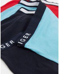 Tommy Hilfiger Набор Из 3 Боксеров-брифов Черного/бирюзового/красного Цвета С Логотипом На Резинке -многоцветный - Синий