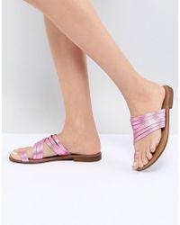 Pieces - Metallic Leather Multi Strap Flat Sandal - Lyst