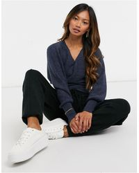 Y.A.S Wrap Sweater With Deep Waistband And Open Back - Blue