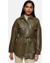 TOPSHOP Faux Leather Belted Jacket - Green