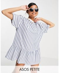ASOS Asos Design Petite Oversized T-shirt Dress With Frill Hem - Blue
