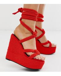 ASOS - Wide Fit Will Power Rope Wedges In Red - Lyst