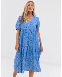 49c127d2a059 Vero Moda - Aware Smudge Print Puff Sleeve Maxi Smock Dress - Lyst