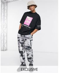 Collusion Oversized T-shirt With Print - Black