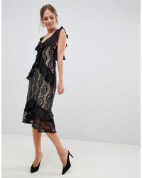 Liquorish Midi-jurk Met Kant En Ruches - Zwart