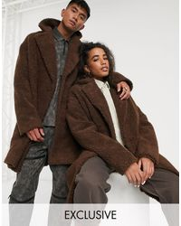 Collusion Unisex Teddy Overcoat - Brown