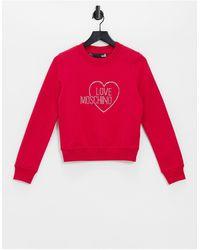 Love Moschino Розовый Свитшот С Логотипом Из Стразов -розовый Цвет