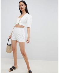 ASOS Broderie Shorts With Pom Pom Trim - White