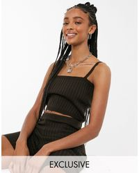 Collusion Knitted Square Neck Crop Top Co-ord - Brown