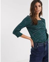 Esprit Abstract Zebra Print Top With Sleeves - Green