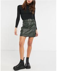 TOPSHOP Faux Leather Biker Skirt - Green