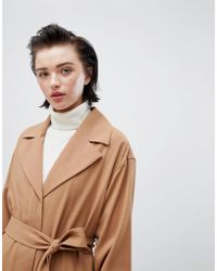 Weekday - Oversize Belted Trench Coat In Camel - Lyst