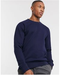 SELECTED Organic Cotton Pique Crew Neck Sweat - Blue