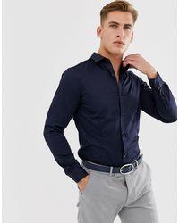 Jack & Jones – Hochwertiges, schmal geschnittenes, elegantes Stretchhemd - Blau
