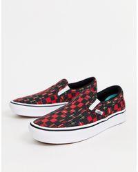 Vans Plaid Check Comfycush Slip-on Shoes - Red