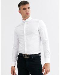 ASOS – Enges, strukturiertes Hemd - Weiß