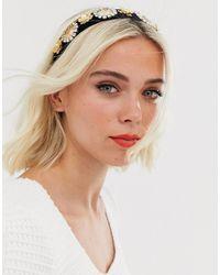 Ashiana Black And Gold Thick Embellished Jewel Headband - Metallic