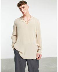 ASOS Regular Fit Overhead Shirt - Natural
