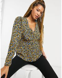 New Look - Blusa da giorno nera con stampa a fiorellini - Lyst