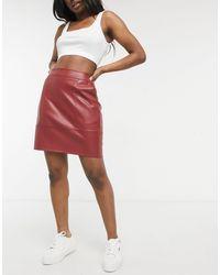 Vero Moda Faux Leather Mini Skirt - Red