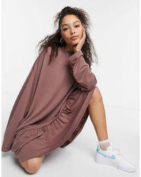 Weekday Erina Mini Smock Dress With Peplum Hem - Brown