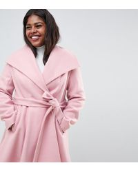 ASOS - Asos Design Curve Waterfall Collar Coat With Tie Belt - Lyst