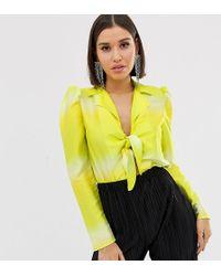 Flounce London Knot Front Bodysuit In Tie Dye Yellow
