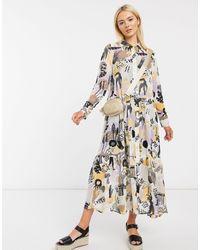 Monki Collina Abstract Print Midi Dress - Multicolor
