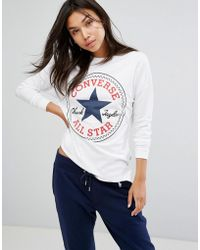 Converse - Logo Long Sleeve Tee In White - Lyst