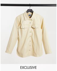 Reclaimed (vintage) Inspired Leather Look Shirt - Natural